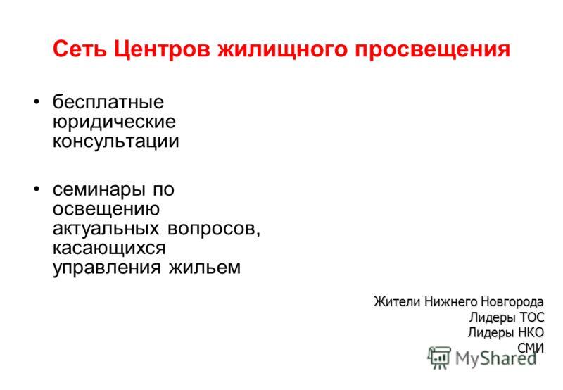 Сеть Центров жилищного просвещения бесплатные юридические консультации семинары по освещению актуальных вопросов, касающихся управления жильем Жители Нижнего Новгорода Лидеры ТОС Лидеры НКО СМИ