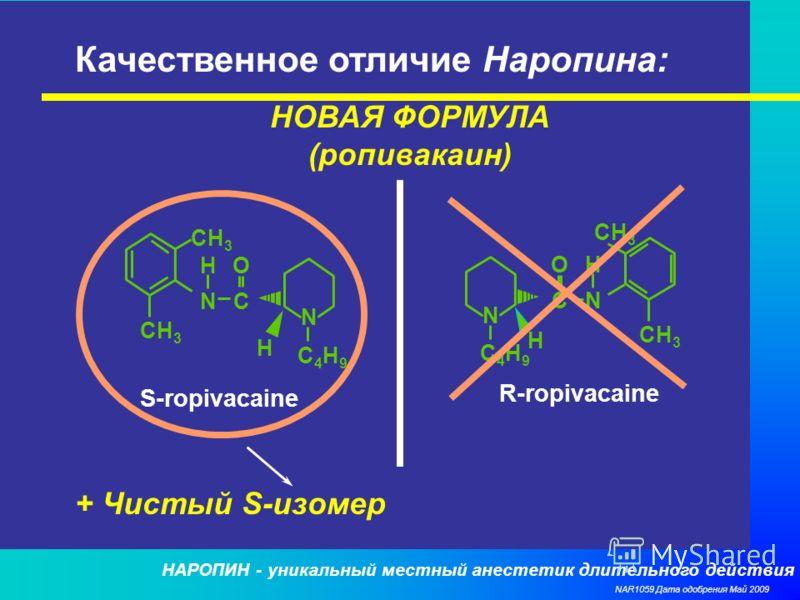 НАРОПИН - уникальный местный анестетик длительного действия NAR1059 Дата одобрения Май 2009 Качественное отличие Наропина: НОВАЯ ФОРМУЛА (ропивакаин) CH 3 H NC O N H C4H9C4H9 H NC O N H C4H9C4H9 S-ropivacaine R-ropivacaine + Чистый S-изомер
