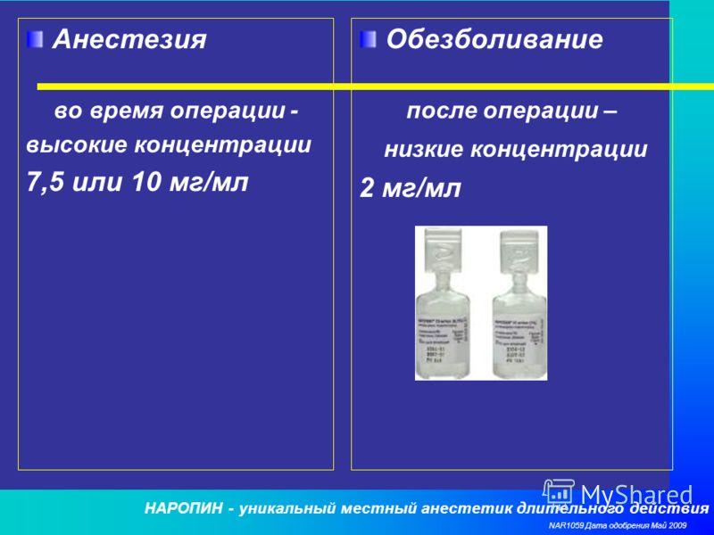 НАРОПИН - уникальный местный анестетик длительного действия NAR1059 Дата одобрения Май 2009 Анестезия во время операции - высокие концентрации 7,5 или 10 мг/мл Обезболивание после операции – низкие концентрации 2 мг/мл