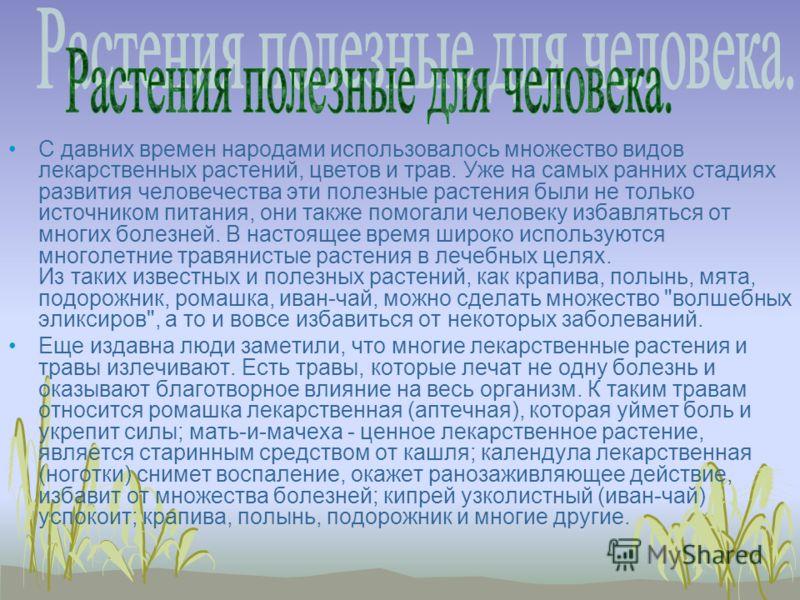 С давних времен народами использовалось множество видов лекарственных растений, цветов и трав. Уже на самых ранних стадиях развития человечества эти полезные растения были не только источником питания, они также помогали человеку избавляться от многи