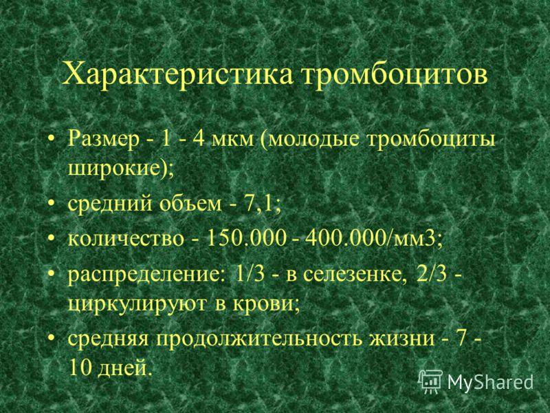 Характеристика тромбоцитов Размер - 1 - 4 мкм (молодые тромбоциты широкие); средний объем - 7,1; количество - 150.000 - 400.000/мм3; распределение: 1/3 - в селезенке, 2/3 - циркулируют в крови; средняя продолжительность жизни - 7 - 10 дней.