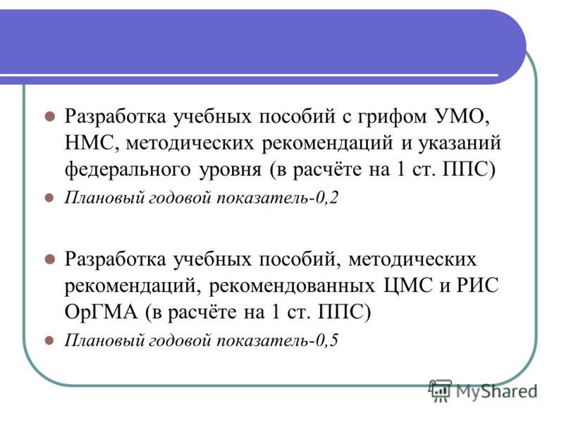 Разработка учебных пособий с грифом УМО, НМС, методических рекомендаций и указаний федерального уровня (в расчёте на 1 ст. ППС) Плановый годовой показатель-0,2 Разработка учебных пособий, методических рекомендаций, рекомендованных ЦМС и РИС ОрГМА (в