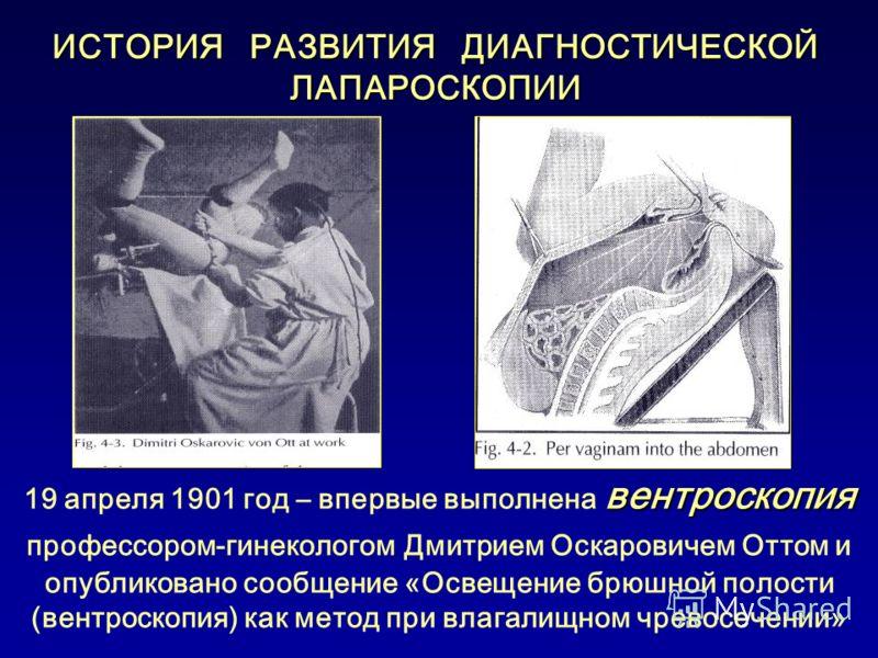 ИСТОРИЯ РАЗВИТИЯ ДИАГНОСТИЧЕСКОЙ ЛАПАРОСКОПИИ вентроскопия 19 апреля 1901 год – впервые выполнена вентроскопия профессором-гинекологом Дмитрием Оскаровичем Оттом и опубликовано сообщение «Освещение брюшной полости (вентроскопия) как метод при влагали