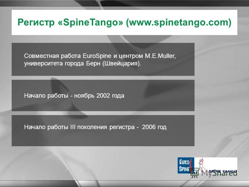 Регистр «SpineTango» (www.spinetango.com) Начало работы - ноябрь 2002 года Начало работы III поколения регистра - 2006 год Совместная работа EuroSpine и центром M.E.Muller, университета города Берн (Швейцария).