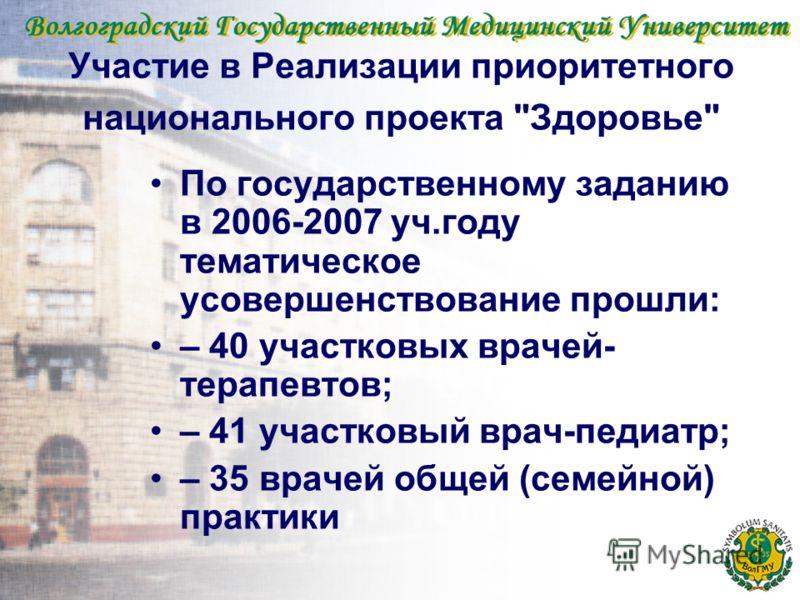 Участие в Реализации приоритетного национального проекта