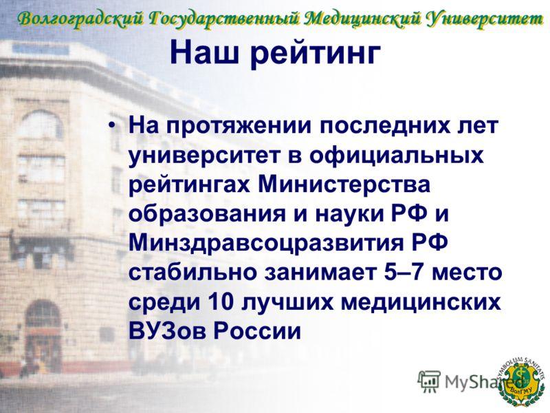 Наш рейтинг На протяжении последних лет университет в официальных рейтингах Министерства образования и науки РФ и Минздравсоцразвития РФ стабильно занимает 5–7 место среди 10 лучших медицинских ВУЗов России