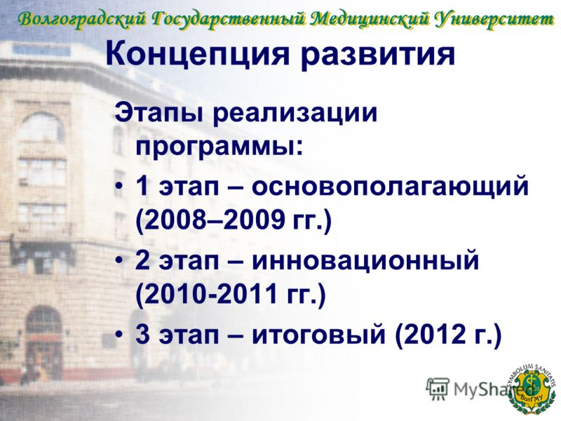 Концепция развития Этапы реализации программы: 1 этап – основополагающий (2008–2009 гг.) 2 этап – инновационный (2010-2011 гг.) 3 этап – итоговый (2012 г.)
