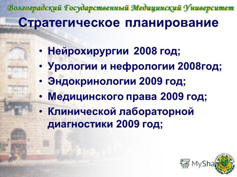 Стратегическое планирование Нейрохирургии2008 год; Урологии и нефрологии 2008год; Эндокринологии 2009 год; Медицинского права 2009 год; Клинической лабораторной диагностики 2009 год;