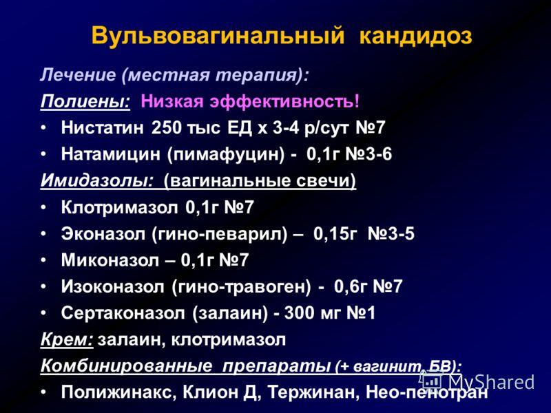 Лечение (местная терапия): Полиены: Низкая эффективность! Нистатин 250 тыс ЕД х 3-4 р/сут 7 Натамицин (пимафуцин) - 0,1г 3-6 Имидазолы: (вагинальные свечи) Клотримазол 0,1г 7 Эконазол (гино-певарил) – 0,15г 3-5 Миконазол – 0,1г 7 Изоконазол (гино-тра