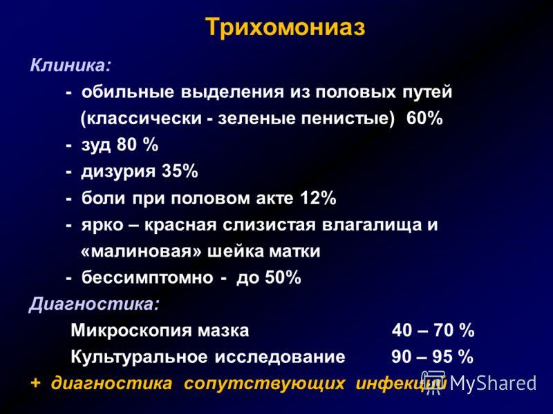 Трихомониаз Клиника: - обильные выделения из половых путей (классически - зеленые пенистые) 60% - зуд 80 % - дизурия 35% - боли при половом акте 12% -