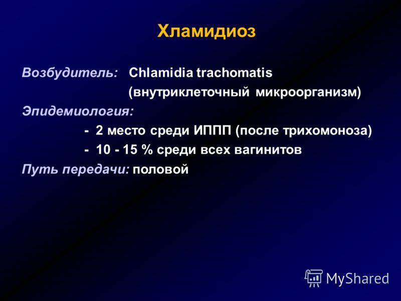 Хламидиоз Возбудитель: Chlamidia trachomatis (внутриклеточный микроорганизм) Эпидемиология: - 2 место среди ИППП (после трихомоноза) - 10 - 15 % среди всех вагинитов Путь передачи: половой