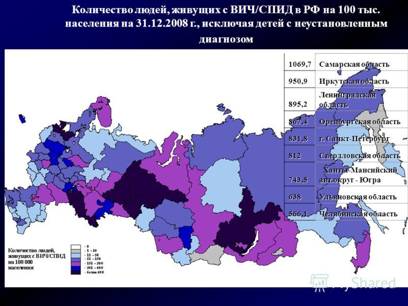 Количество людей, живущих с ВИЧ/СПИД в РФ на 100 тыс. населения на 31.12.2008 г., исключая детей с неустановленным диагнозом 1069,7 Самарская область