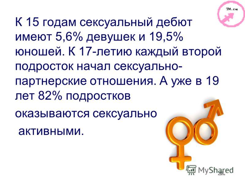 К 15 годам сексуальный дебют имеют 5,6% девушек и 19,5% юношей. К 17-летию каждый второй подросток начал сексуально- партнерские отношения. А уже в 19 лет 82% подростков оказываются сексуально активными.