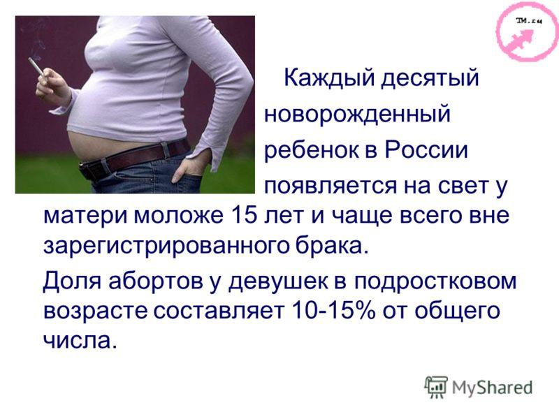 Каждый десятый новорожденный ребенок в России появляется на свет у матери моложе 15 лет и чаще всего вне зарегистрированного брака. Доля абортов у дев