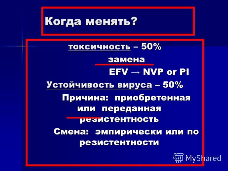 Когда менять? токсичность – 50% замена EFV NVP or PI Устойчивость вируса – 50% Причина: приобретенная или переданная резистентность Смена: эмпирически или по резистентности