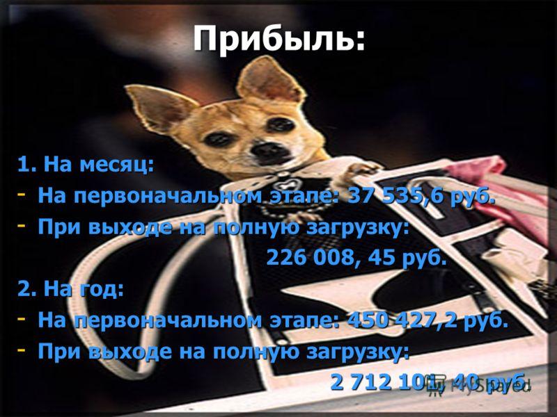 Прибыль: 1. На месяц: - На первоначальном этапе: 37 535,6 руб. - При выходе на полную загрузку: 226 008, 45 руб. 226 008, 45 руб. 2. На год: - На первоначальном этапе: 450 427,2 руб. - При выходе на полную загрузку: 2 712 101, 40 руб. 2 712 101, 40 р