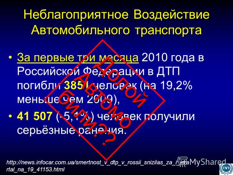 Неблагоприятное Воздействие Автомобильного транспорта За первые три месяца 2010 года в Российской Федерации в ДТП погибли 3851 человек (на 19,2% меньше чем 2009), 41 507 (-5,1%) человек получили серьёзные ранения. http://news.infocar.com.ua/smertnost
