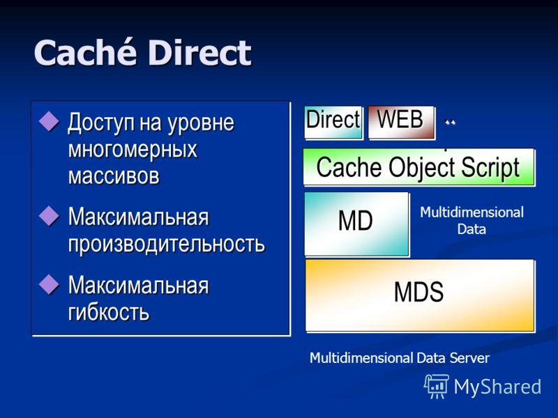 Caché Direct Доступ на уровне многомерных массивов Доступ на уровне многомерных массивов Максимальная производительность Максимальная производительность Максимальная гибкость Максимальная гибкость Доступ на уровне многомерных массивов Доступ на уровн