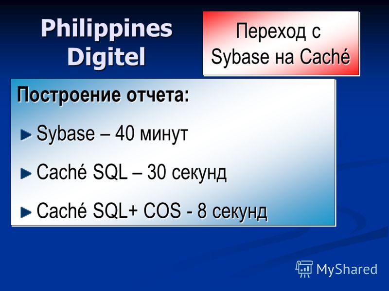 Philippines Digitel Построение отчета: Sybase – 40 минут Sybase – 40 минут Caché SQL – 30 секунд Caché SQL – 30 секунд Caché SQL+ COS - 8 секунд Caché SQL+ COS - 8 секунд Построение отчета: Sybase – 40 минут Sybase – 40 минут Caché SQL – 30 секунд Ca