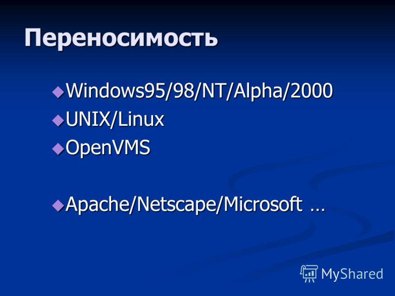 Переносимость Windows95/98/NT/Alpha/2000 Windows95/98/NT/Alpha/2000 UNIX/Linux UNIX/Linux OpenVMS OpenVMS Apache/Netscape/Microsoft … Apache/Netscape/Microsoft …