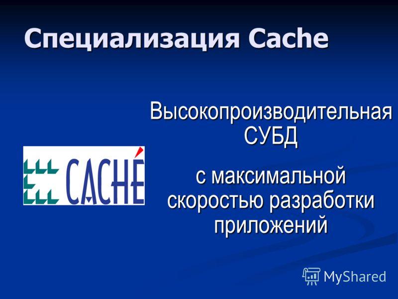 Специализация Cache Высокопроизводительная СУБД с максимальной скоростью разработки приложений