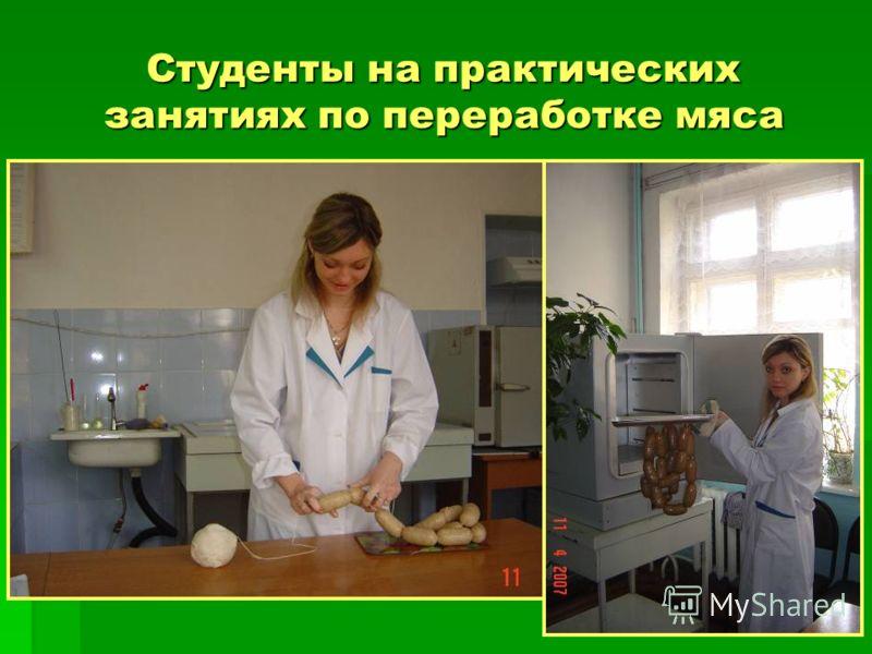 Студенты на практических занятиях по переработке мяса