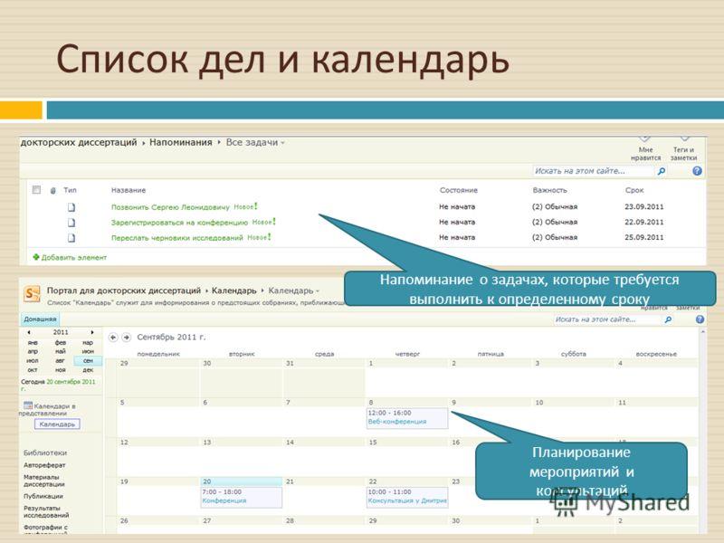 Список дел и календарь Напоминание о задачах, которые требуется выполнить к определенному сроку Планирование мероприятий и консультаций