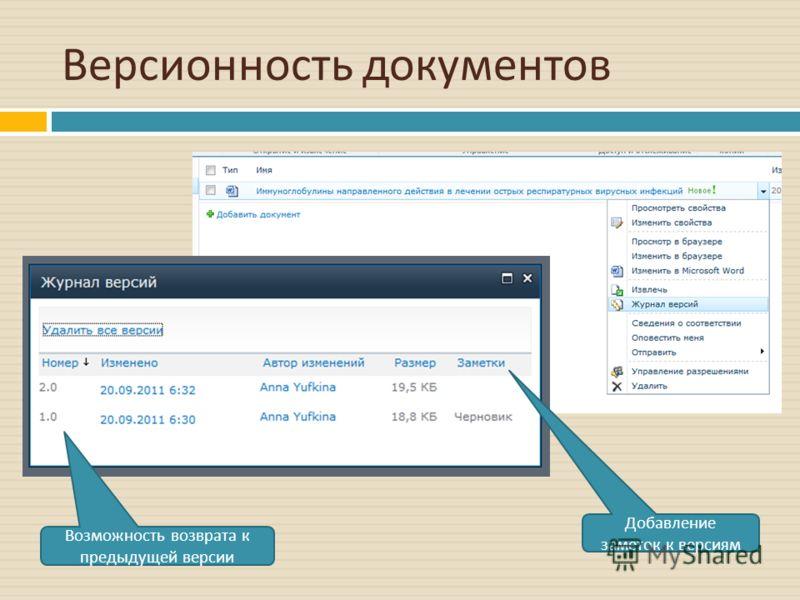 Версионность документов Возможность возврата к предыдущей версии Добавление заметок к версиям
