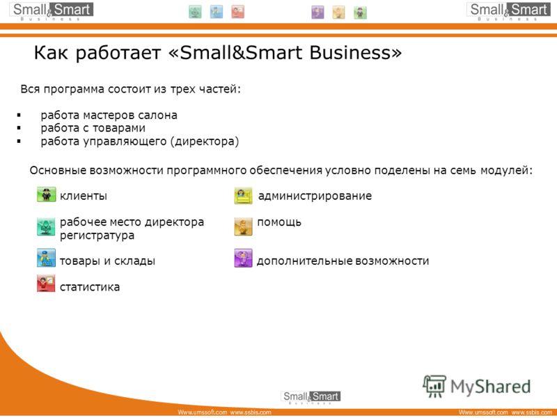 Как работает «Small&Smart Business» Вся программа состоит из трех частей: работа мастеров салона работа с товарами работа управляющего (директора) Основные возможности программного обеспечения условно поделены на семь модулей: клиенты администрирован