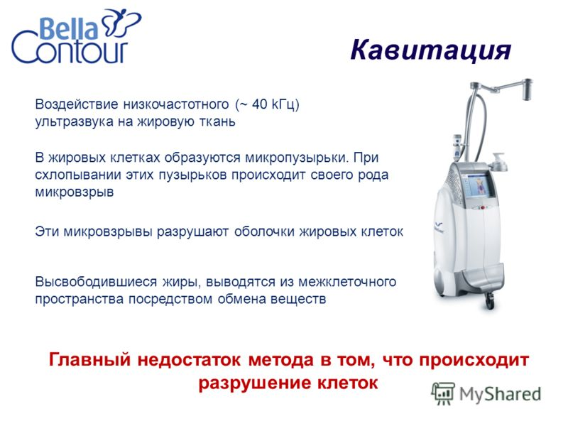 Кавитация Воздействие низкочастотного (~ 40 kГц) ультразвука на жировую ткань В жировых клетках образуются микропузырьки. При схлопывании этих пузырьков происходит своего рода микровзрыв Главный недостаток метода в том, что происходит разрушение клет