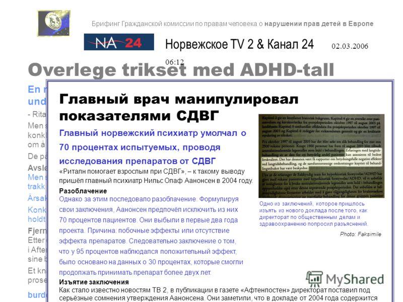 Overlege trikset med ADHD-tall En norsk overlege lot være å ta med 70 prosent av prøvepersonene i en undersøkelse om ADHD-medisinering. - Ritalin hjelper voksne med ADHD, konkluderte overlege Nils Olav Aanonsen i 2004. Men så viste det seg at overleg