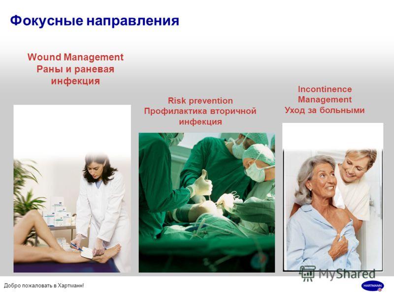 Добро пожаловать в Хартманн! Фокусные направления Wound Management Раны и раневая инфекция Risk prevention Профилактика вторичной инфекция Incontinence Management Уход за больными