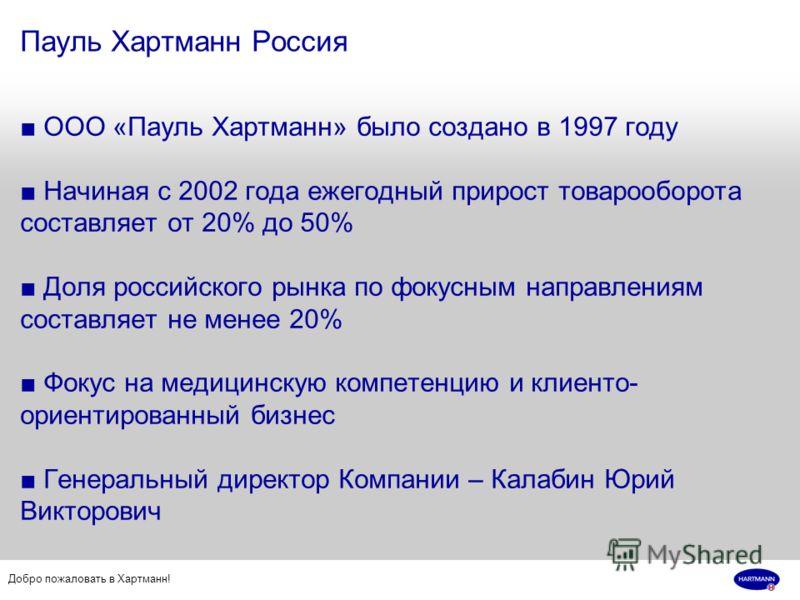 Добро пожаловать в Хартманн! Пауль Хартманн Россия ООО «Пауль Хартманн» было создано в 1997 году Начиная с 2002 года ежегодный прирост товарооборота составляет от 20% до 50% Доля российского рынка по фокусным направлениям составляет не менее 20% Фоку