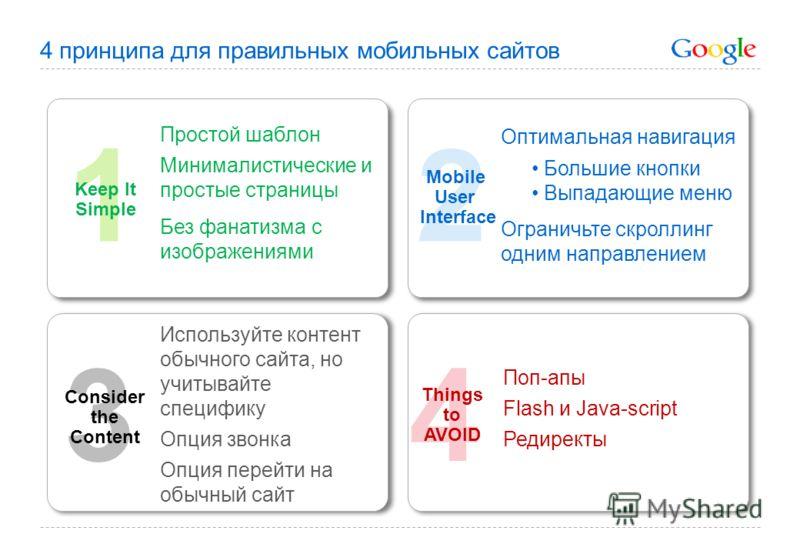 4 Things to AVOID 2 Mobile User Interface 3 1 Keep It Simple Consider the Content Простой шаблон Минималистические и простые страницы Без фанатизма с изображениями Поп-апы Flash и Java-script Редиректы Используйте контент обычного сайта, но учитывайт