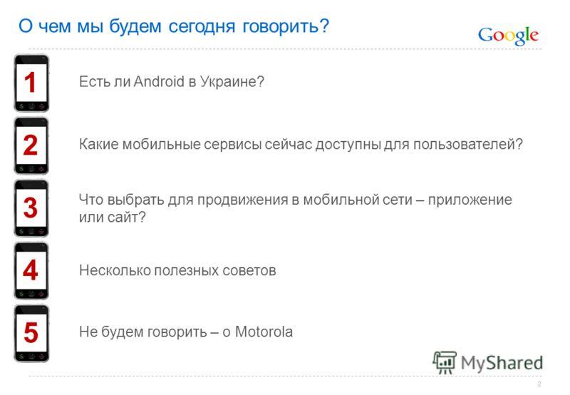 2 О чем мы будем сегодня говорить? 1 2 4 3 5 Есть ли Android в Украине? Какие мобильные сервисы сейчас доступны для пользователей? Что выбрать для продвижения в мобильной сети – приложение или сайт? Несколько полезных советов Не будем говорить – о Mo