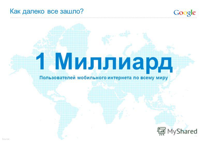 Как далеко все зашло? 1 Миллиард Пользователей мобильного интернета по всему миру Source: