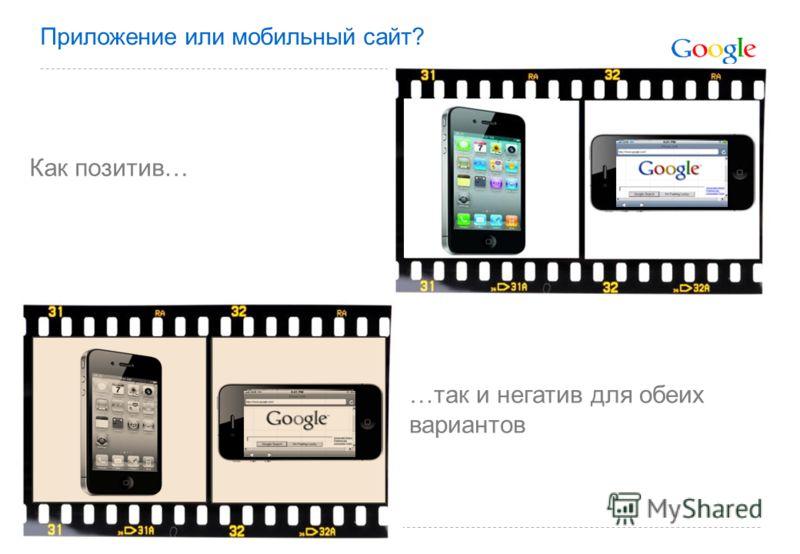 Приложение или мобильный сайт? Как позитив… …так и негатив для обеих вариантов
