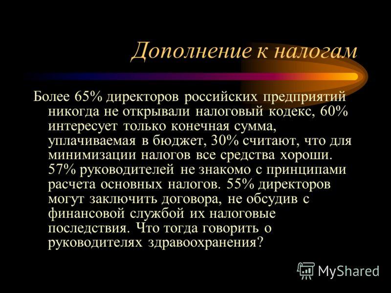 Дополнение к налогам Более 65% директоров российских предприятий никогда не открывали налоговый кодекс, 60% интересует только конечная сумма, уплачиваемая в бюджет, 30% считают, что для минимизации налогов все средства хороши. 57% руководителей не зн