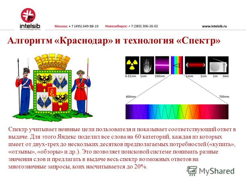 Алгоритм «Краснодар» и технология «Спектр» Спектр учитывает неявные цели пользователя и показывает соответствующий ответ в выдаче. Для этого Яндекс поделил все слова на 60 категорий, каждая из которых имеет от двух-трех до нескольких десятков предпол