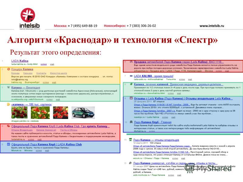 Алгоритм «Краснодар» и технология «Спектр» Результат этого определения: