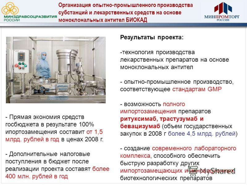 Результаты проекта: -технология производства лекарственных препаратов на основе моноклональных антител - опытно-промышленное производство, соответствующее стандартам GMP - возможность полного импортозамещения препаратов ритуксимаб, трастузумаб и бева