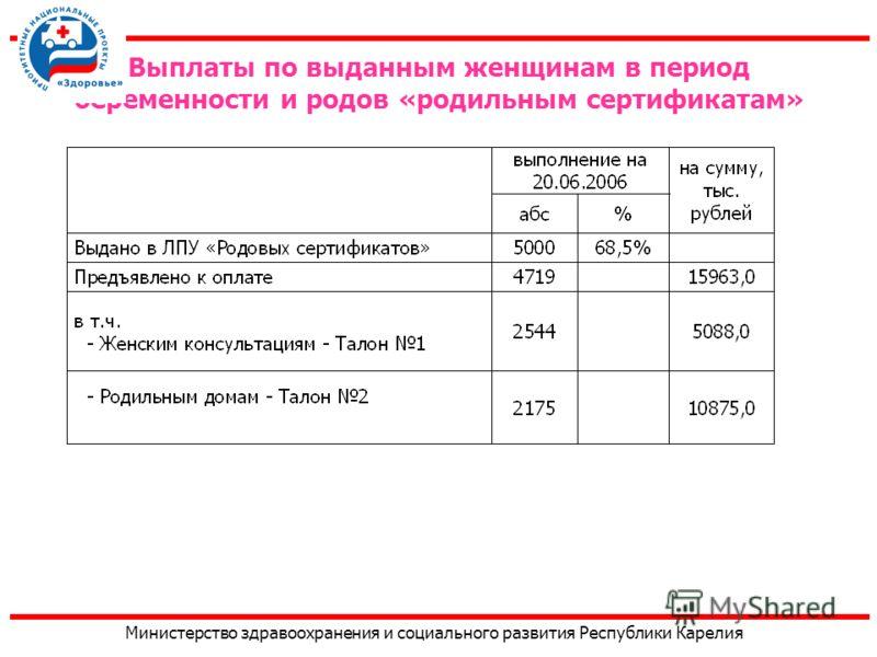 Министерство здравоохранения и социального развития Республики Карелия Выплаты по выданным женщинам в период беременности и родов «родильным сертификатам»
