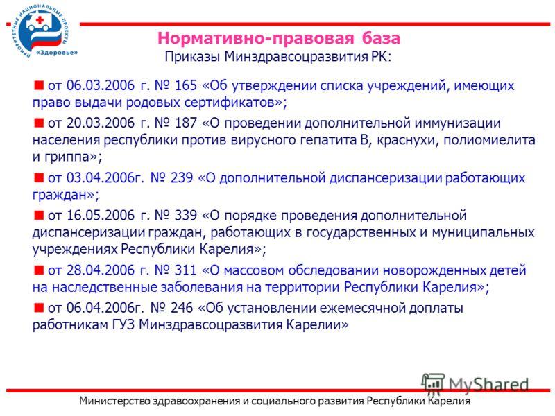Министерство здравоохранения и социального развития Республики Карелия от 06.03.2006 г. 165 «Об утверждении списка учреждений, имеющих право выдачи родовых сертификатов»; от 20.03.2006 г. 187 «О проведении дополнительной иммунизации населения республ
