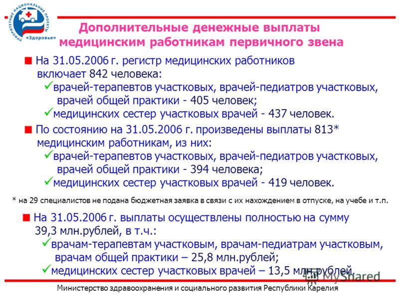 Министерство здравоохранения и социального развития Республики Карелия На 31.05.2006 г. регистр медицинских работников включает 842 человека: врачей-терапевтов участковых, врачей-педиатров участковых, врачей общей практики - 405 человек; медицинских