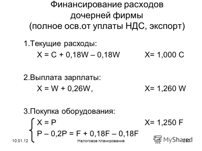 10.01.12Налоговое планирование229 Финансирование расходов дочерней фирмы (частичное осв.от НДС, услуги за рубежом) 1.Текущие расходы: X = C + 0,18 С, X= 1,180 C 2.Выплата зарплаты: X = W + 0,26 W, X= 1,260 W 3.Покупка оборудования: X = PX= 1,475 F P