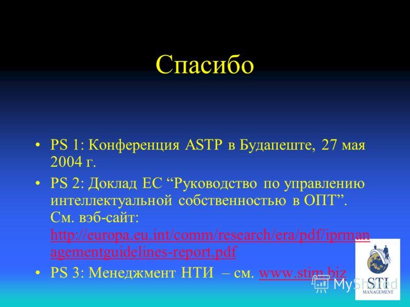 Спасибо PS 1: Конференция ASTP в Будапеште, 27 мая 2004 г. PS 2: Доклад ЕС Руководство по управлению интеллектуальной собственностью в ОПТ. См. вэб-сайт: http://europa.eu.int/comm/research/era/pdf/iprman agementguidelines-report.pdf http://europa.eu.