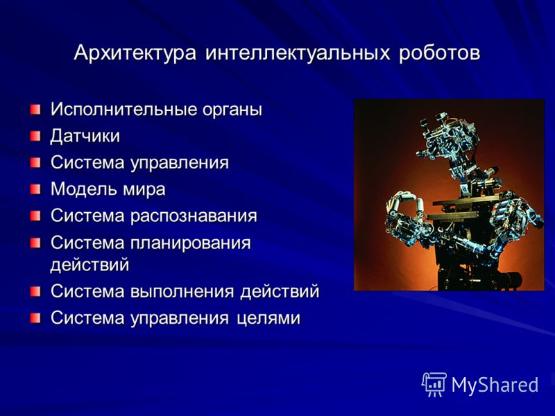 Архитектура интеллектуальных роботов Исполнительные органы Датчики Система управления Модель мира Система распознавания Система планирования действий Система выполнения действий Система управления целями