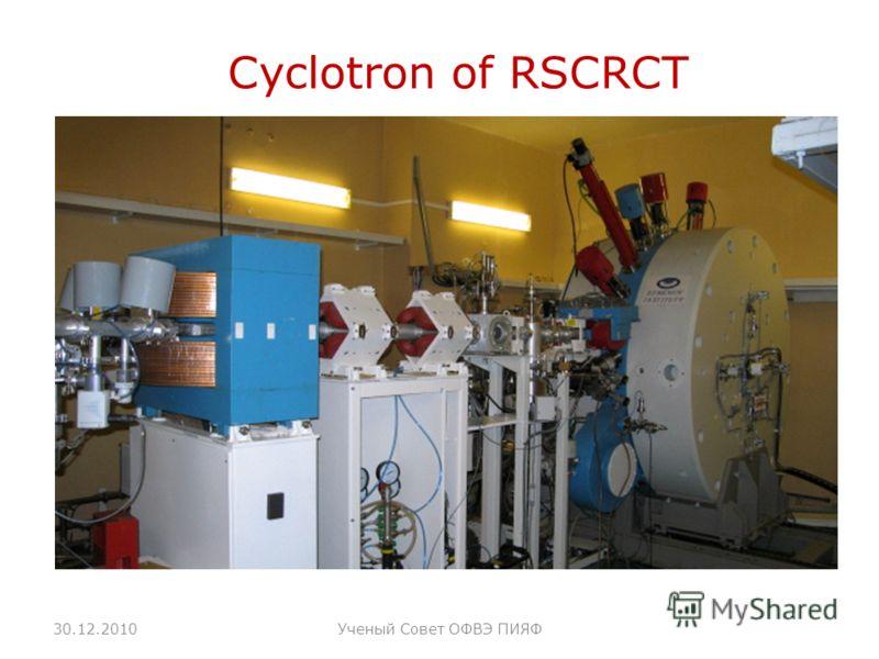 Cyclotron of RSCRCT 30.12.2010Ученый Совет ОФВЭ ПИЯФ