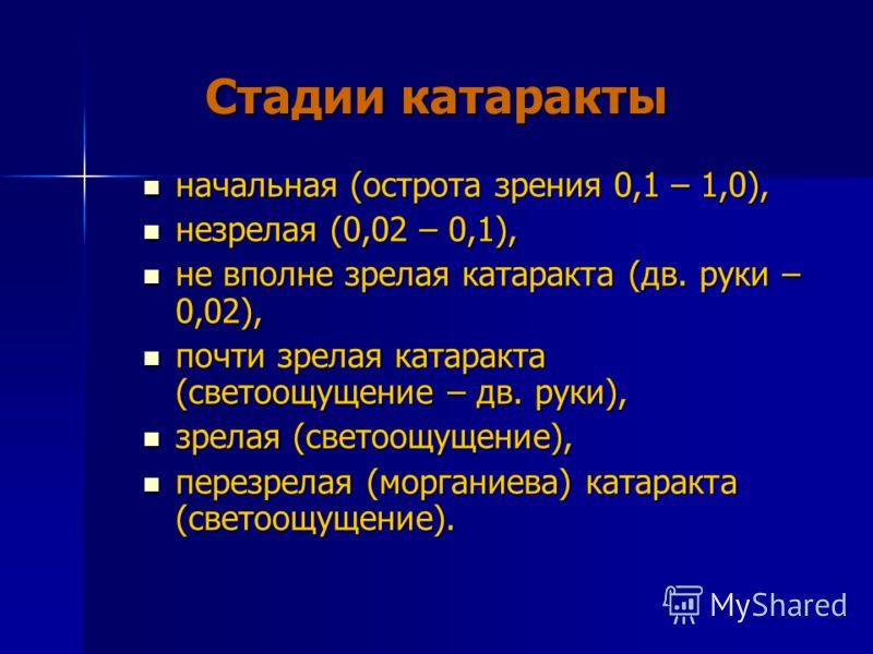 Стадии катаракты начальная (острота зрения 0,1 – 1,0), начальная (острота зрения 0,1 – 1,0), незрелая (0,02 – 0,1), незрелая (0,02 – 0,1), не вполне зрелая катаракта (дв. руки – 0,02), не вполне зрелая катаракта (дв. руки – 0,02), почти зрелая катара