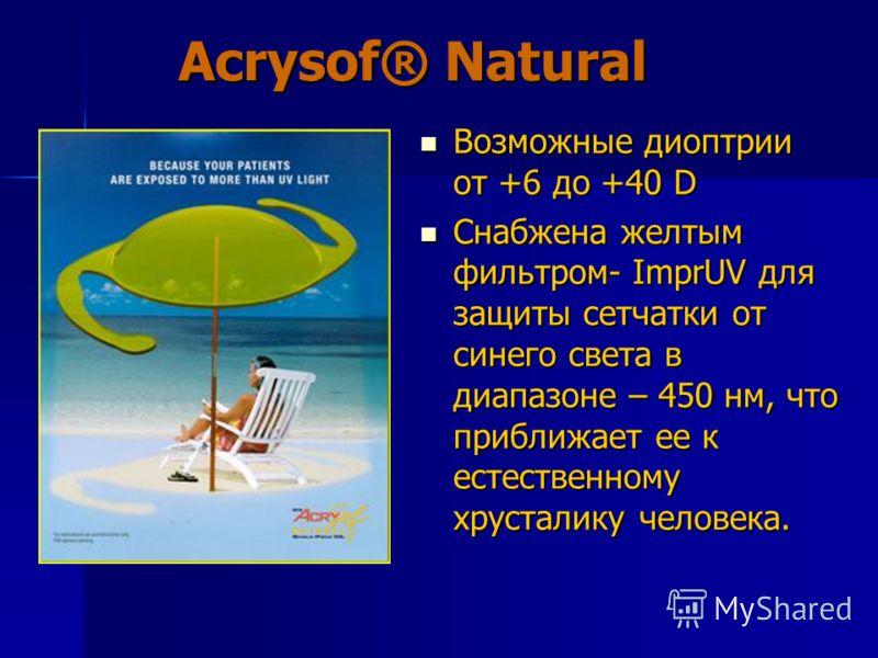 Acrysof® Natural Возможные диоптрии от +6 до +40 D Возможные диоптрии от +6 до +40 D Снабжена желтым фильтром- ImprUV для защиты сетчатки от синего света в диапазоне – 450 нм, что приближает ее к естественному хрусталику человека. Снабжена желтым фил
